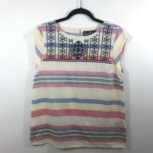 Anthropologie James Coviello Linen Embroidered Top